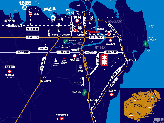 海口绿园仙民物流新城位置图