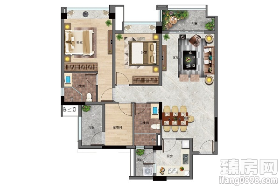 景业白鹭洲-建面约104㎡户型2室2厅2卫1厨